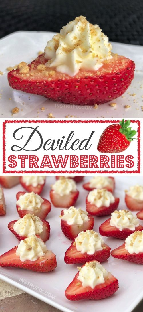 These sweet cream cheese stuffed strawberries are the most delightful finger food for just about any party. They're also fun for Valentine's Day or girl's night in! Either way, this spectacular table display will be the hit of the party.