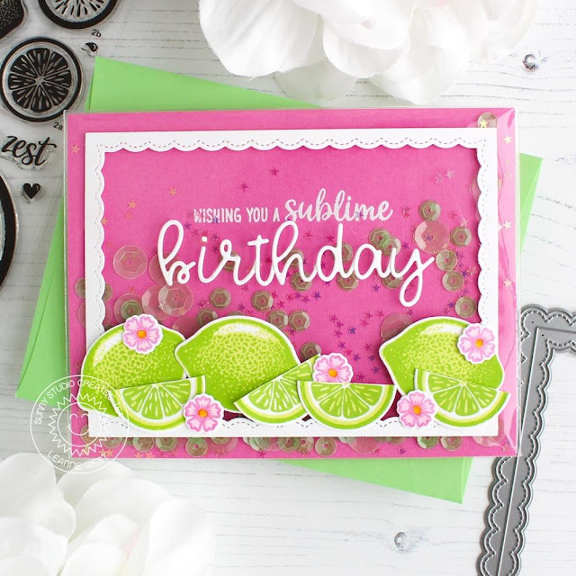 Sunny Studio Stamps: Slice Of Summer Pink & Green Lemon Lime Birthday Card by Leanne West (using Loopy Letters & Fancy Frames Rectangle Dies)