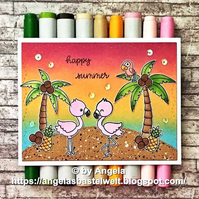 Sunny Studio Stamps: Fabulous Flamingos, Tropical Scenes and Sending Sunshine card by Angela Pahl