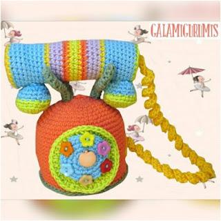 patrón amigurumi Teléfono colorines galamigurumis