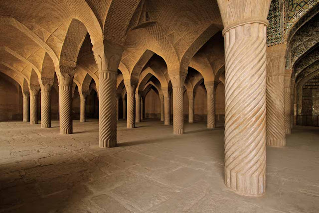 the columns of Vakil Mosque in Shiraz.