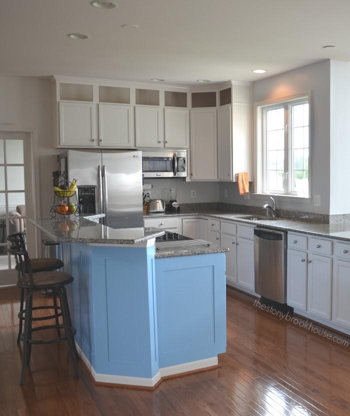 Painted Blue Kitchen Island