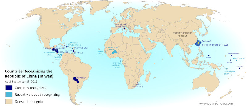 Map of who recognizes Taiwan (what countries recognize the Republic of China) in September 2019. Marks countries that have cut diplomatic ties with Taiwan (withdrawn recognition) in the last ten years: Kiribati, Solomon Islands, El Salvador, Burkina Faso, the Dominican Republic, Panama, Sao Tome and Principe, and the Gambia. Also answers question: Where is Republic of China located? (Colorblind accessible)