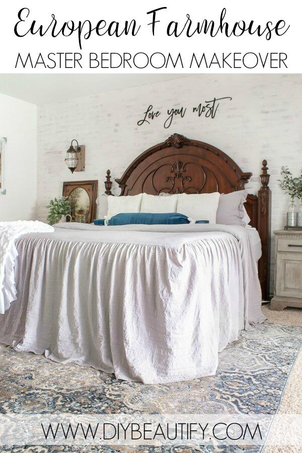 master bedroom with European farmhouse style