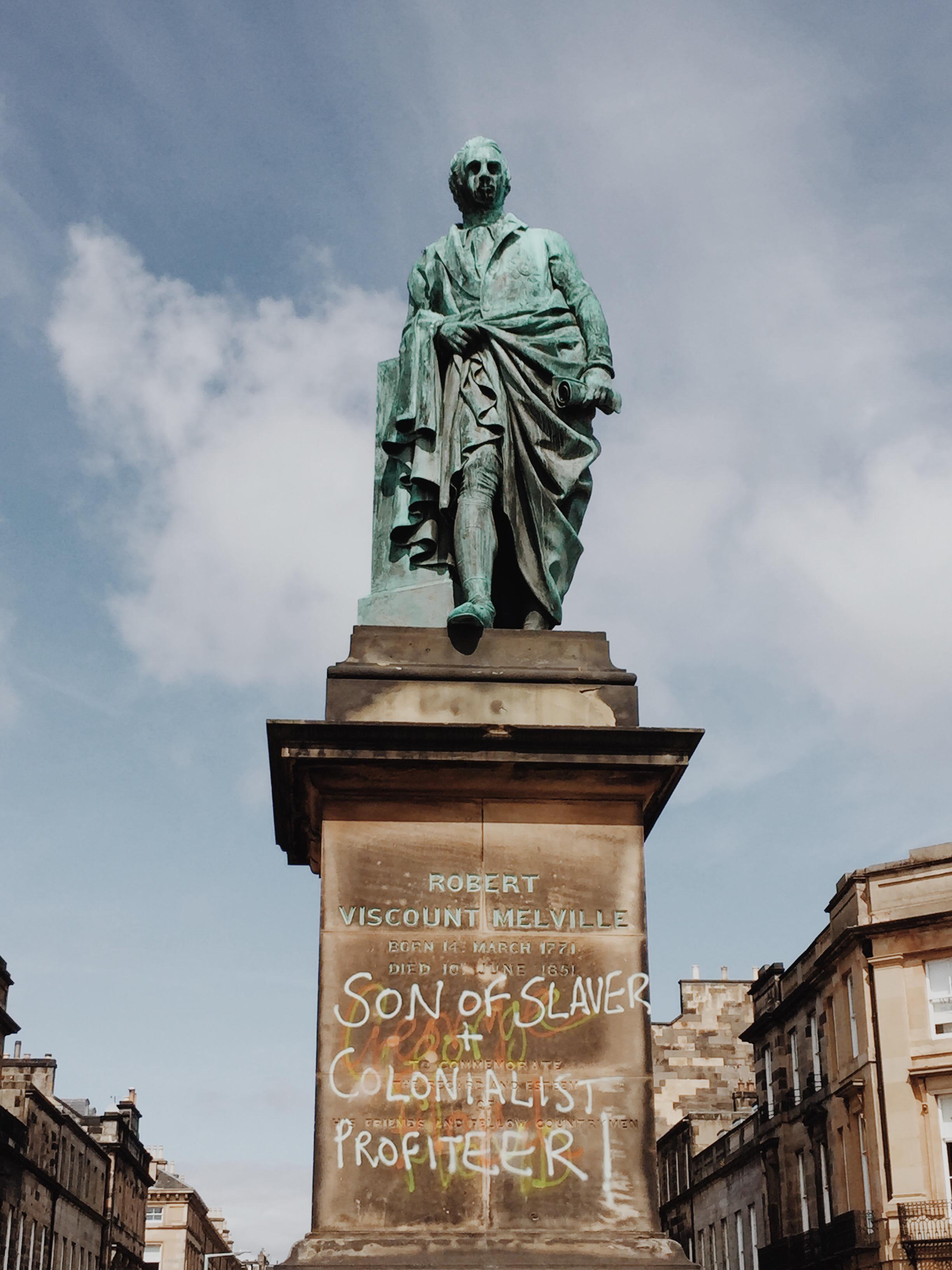 Viscount Melville Monument graffiti Edinburgh