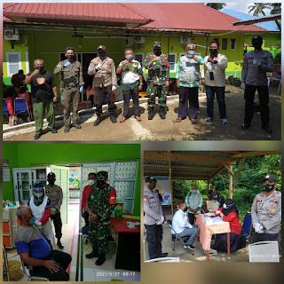 Senergiritas TNI/Polri lakukan pengamanan Vaksinasi Covid-19 Tahap 1 di UPT Puskesmas Penuba