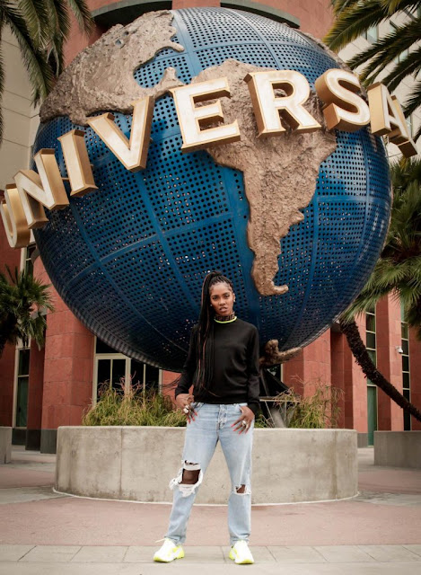 Tiwa Savage in front Universal Music Group Building