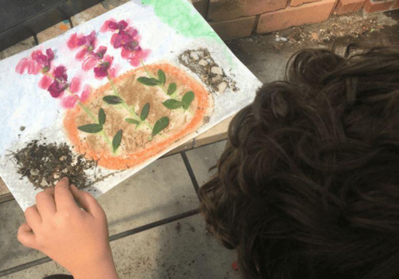 mixed media spring flower art for kids