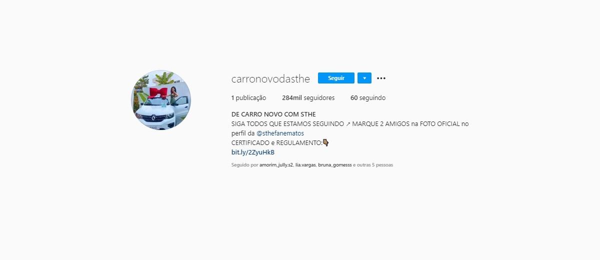 Promoção De Carro Novo Com A Sthe @carronovodasthe e @sthefanematos