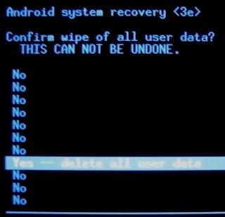 membuka kunci ponsel Android dengan Reset Pabrik (Factory Reset)
