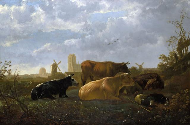 Альберт Кёйп - Пастух с коровами на фоне Дордрехта. 1650-52