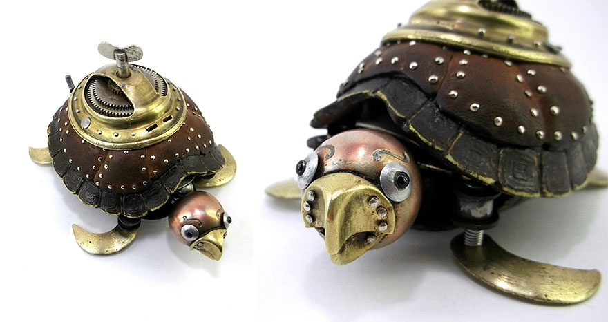 08-Turtle-Igor-Verniy-Recycled-and-Upcycled-Animal-Steampunk-Sculptures-www-designstack-co