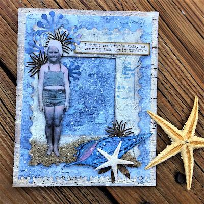 Sara Emily Barker http://sarascloset1.blogspot.com/ One Last Beach Day Shabby Card #timholtz #sizzixalterations #stampersanonymous #rangerdistress 6