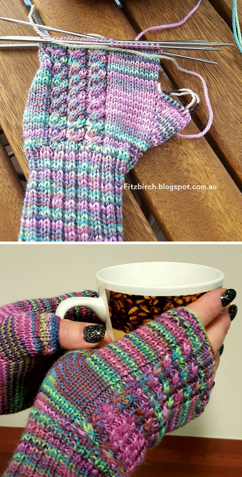 Cabled Fingerless Mittens - Free Pattern