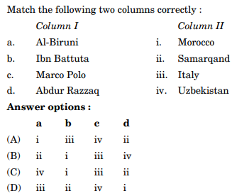 Match the following two columns correctly