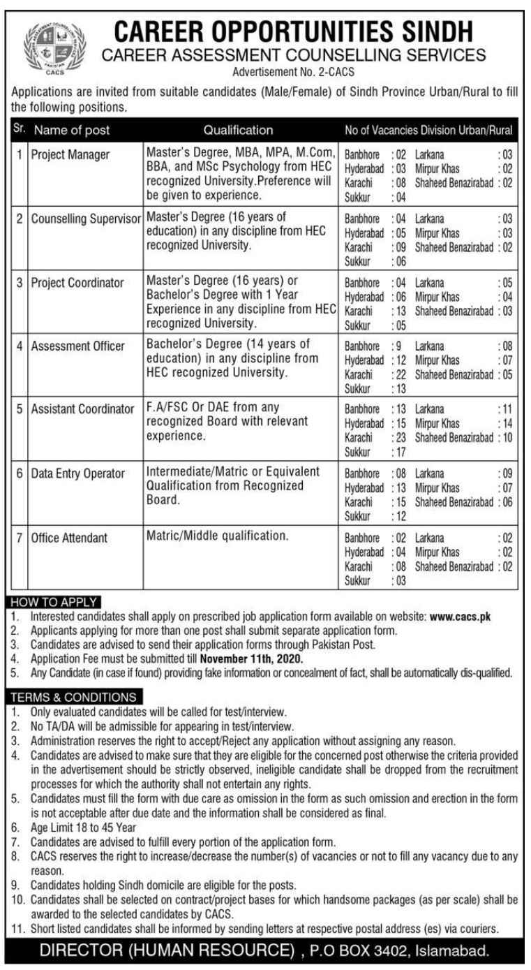360+ Seats in Career Assessment Counselling Service CACS Jobs 2020 Sindh For Data Entry, Office Assistant and more