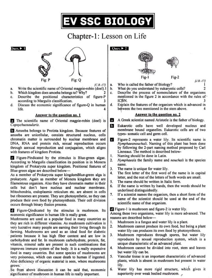 নবম-দশম শ্রেনির জীববিজ্ঞান ইংরেজি ভার্সন গাইড pdf -SSC Biology English Version Note - এস এস সি জীববিজ্ঞান গাইড ইংরেজি ভার্সন pdf
