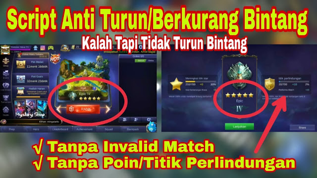 Script Anti Turun Bintang Tanpa Invalid Match Mobile Legends