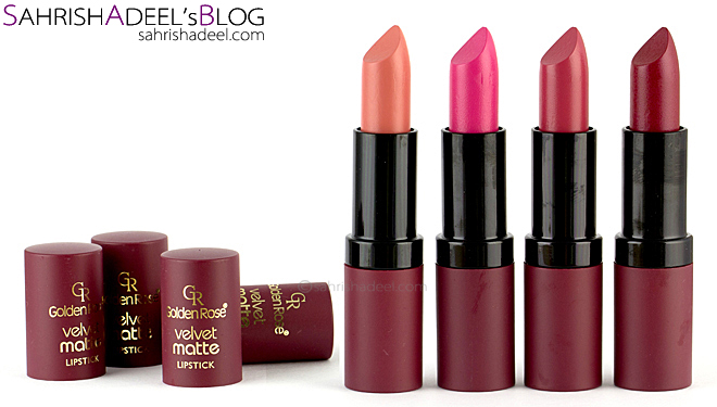 Velvet Matte Lipsticks by Golden Rose Cosmetics - Review & Swatches