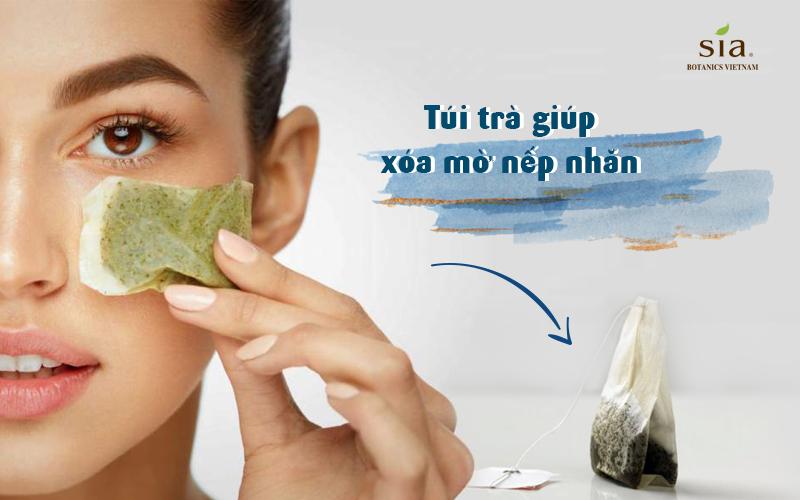 trà xanh giúp làm xóa mờ nếp nhăn trên da vùng xung quanh mát rất hiệu quả