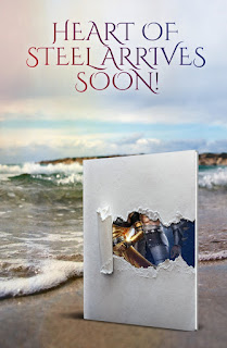 Fantasy Romance, Instalove Novel, A book sits on a sandy beach with rolling waves in the background.