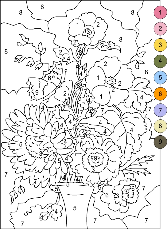 Nicole's Free Coloring Pages: COLOR BY NUMBERS * FLOWERS