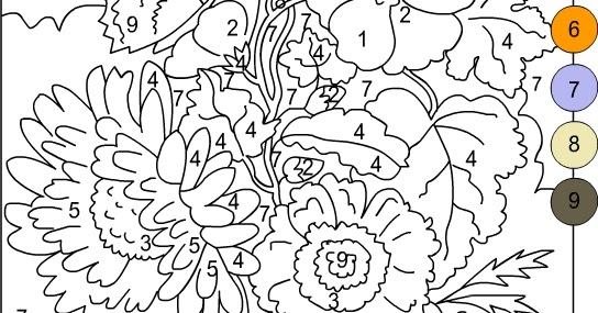 Nicole 39 s free coloring pages color by numbers flowers for Color by number flower coloring pages