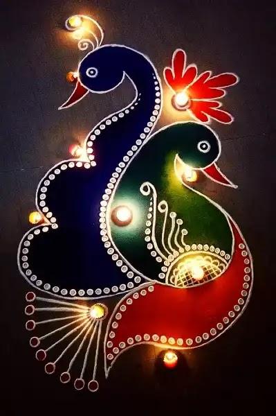 unique rangoli design for peacock