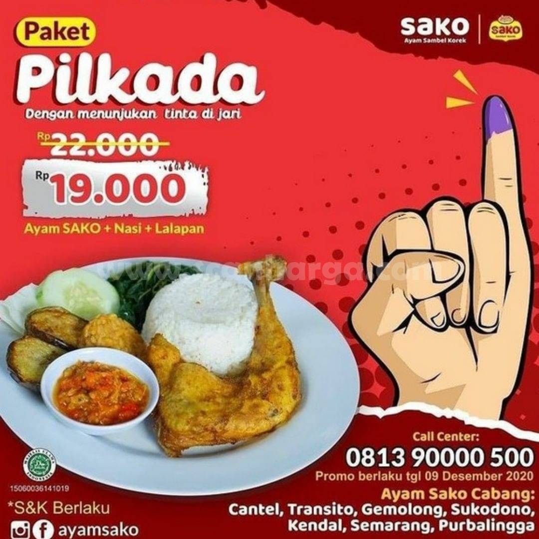 Promo Ayamsako Paket Pilkada - Ayam Sako + Nasi + Lalapan cuma Rp 19.000