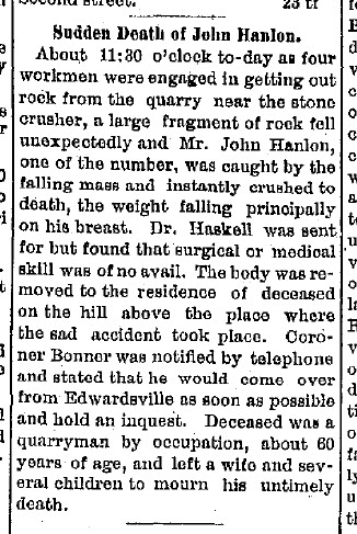 Sunday's Obituary: Hanlon Obituaries in Illinois before 1900