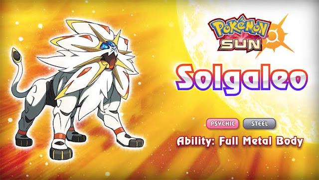 Solgaleo - lendário do Pokémon Sun