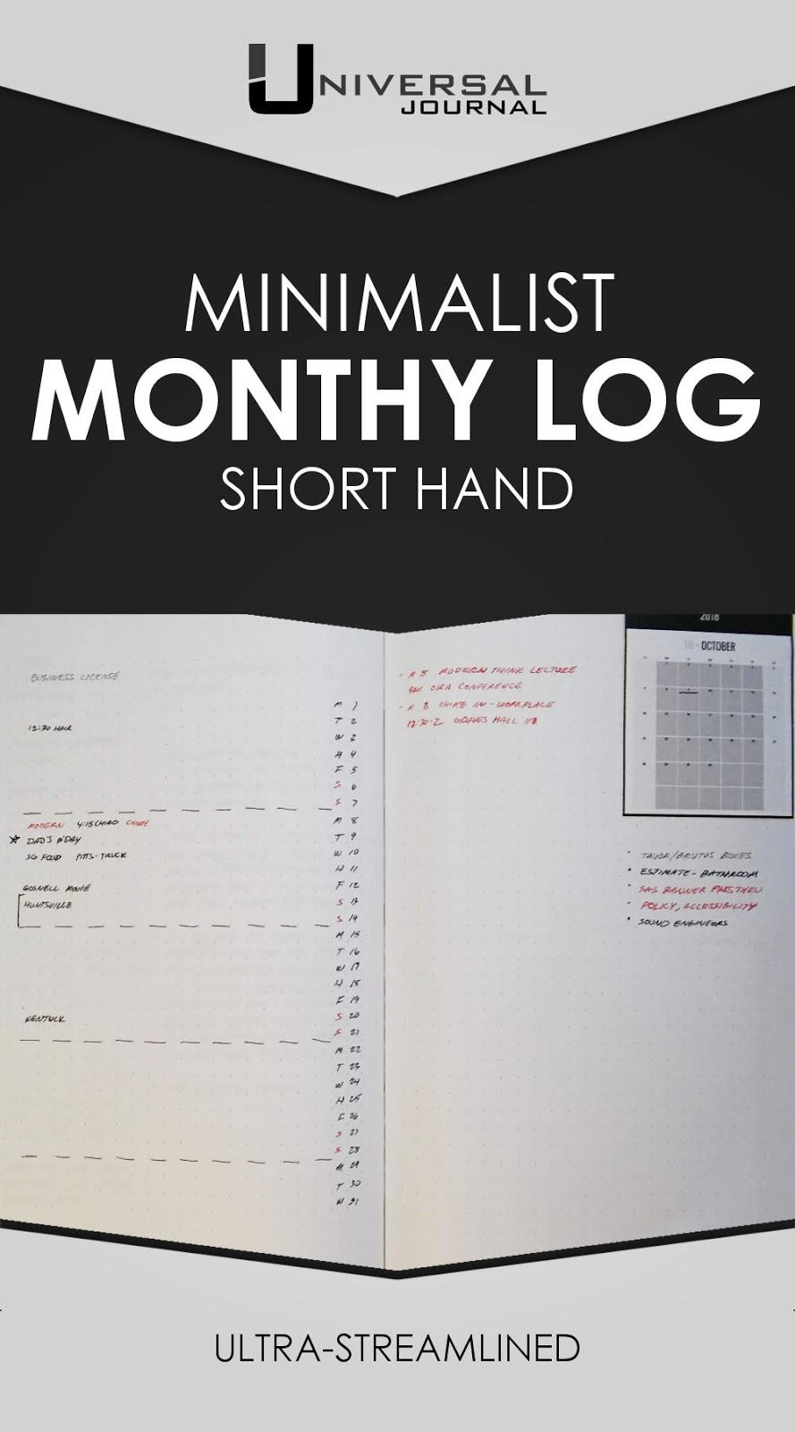 bullet journal minimalist monthly log short hand spread