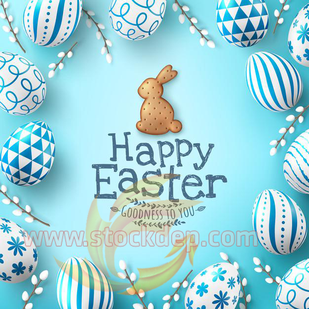 banner template with easter eggs and cute bunny biscuit on light green background
