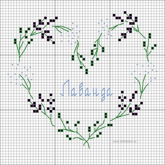 "схема вышивки крестом ""Лаванда"", cross stitching wreath lavender pattern"