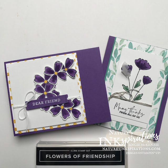 By Angie McKenzie for Ink and Inspiration Blog Hop; Click READ or VISIT to go to my blog for details! Featuring the several coloring techniques along with the Flowers of Friendship Bundle in the 2021-2022 Annual Catalog by Stampin' Up!®; #flowersoffriendshipstampset #flowersandleavespunch  #flowersoffriendshipbundle #thankyoucards #stampinupcolorcoordination #inkandinspirationbloghop #stampingtechniques #punchedfloralwreath #naturesinkspirations #20212022annualcatalog #bloghops #iibh #stampinup #handmadecards #fauxalcoholcoloring #waterpainters
