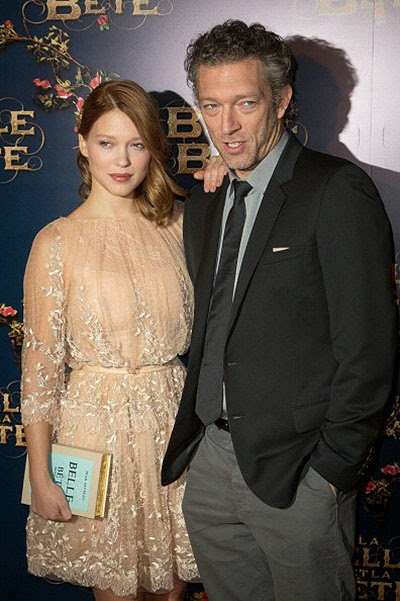 Léa Seydoux and Vincent Cassel at the premiere of Beauty and the Beast