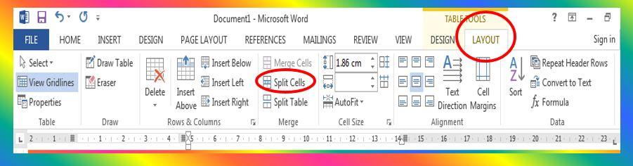Split Cells command in MS Word 2013