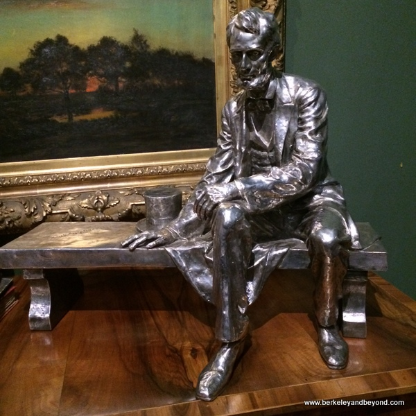 silver sculpture of Abraham Lincoln at Houmas House Plantation and Gardens in Darrow, Louisiana
