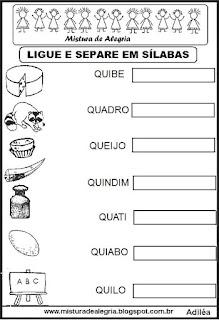 Separando em sílabas, desenhos com Q