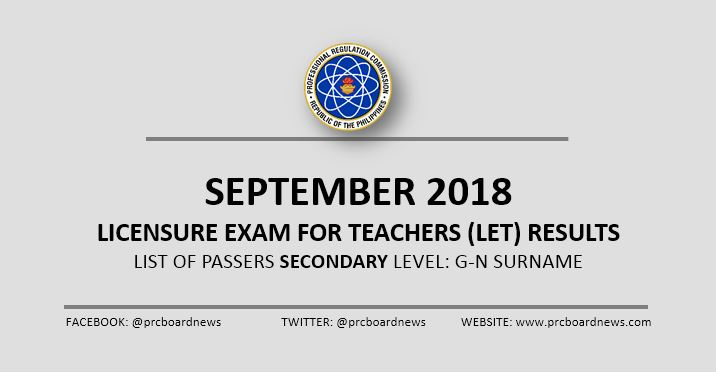 G-N Passers: September 2018 LET Result Secondary