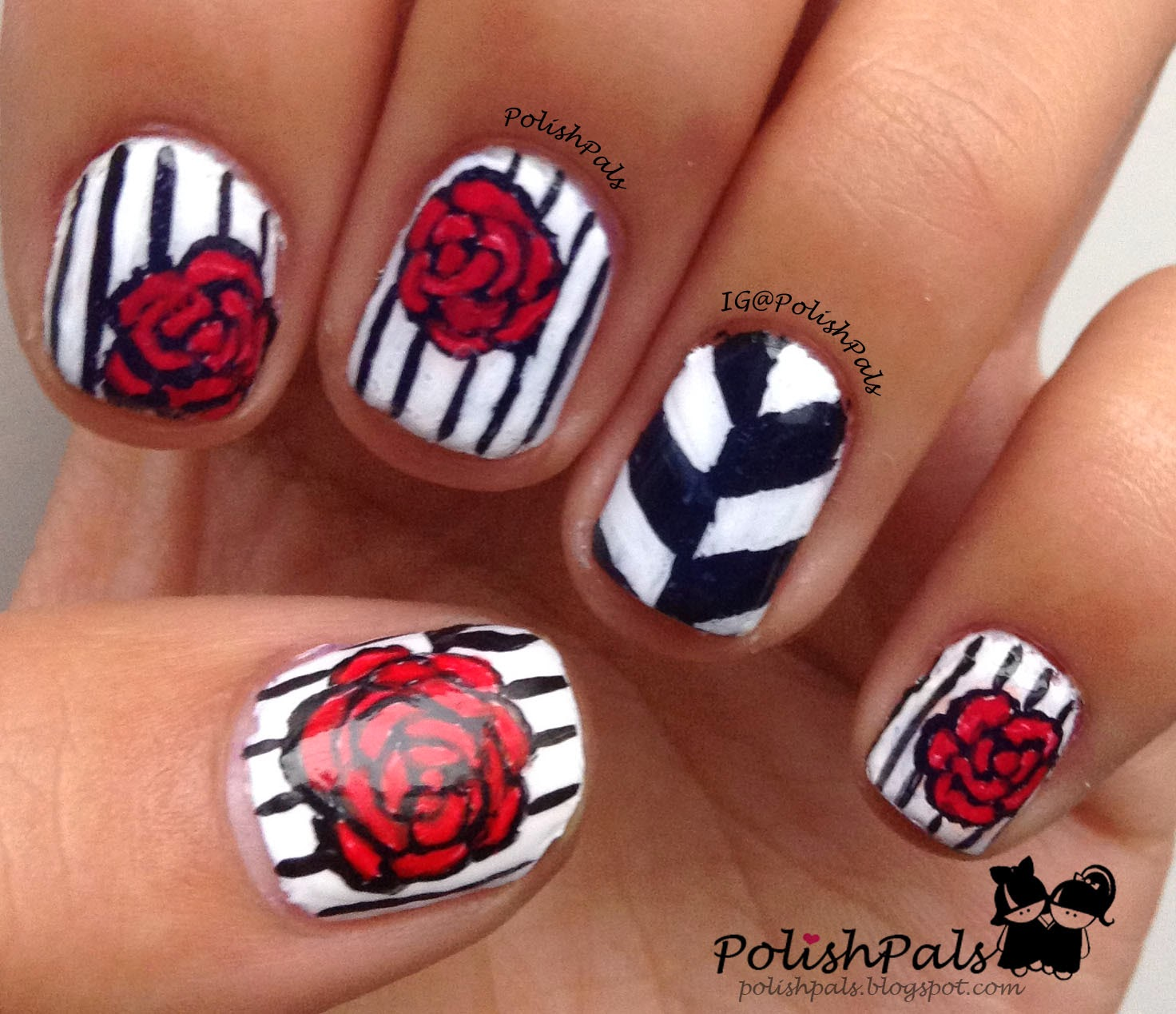 Acrylic Nail Art Rose: Polish Pals: R Is For Rose