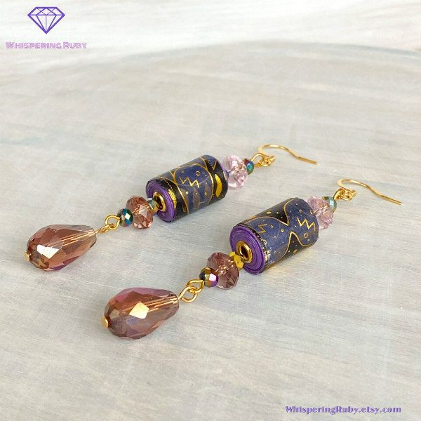 purple and gold paper bead dangle earrings with crystal beads