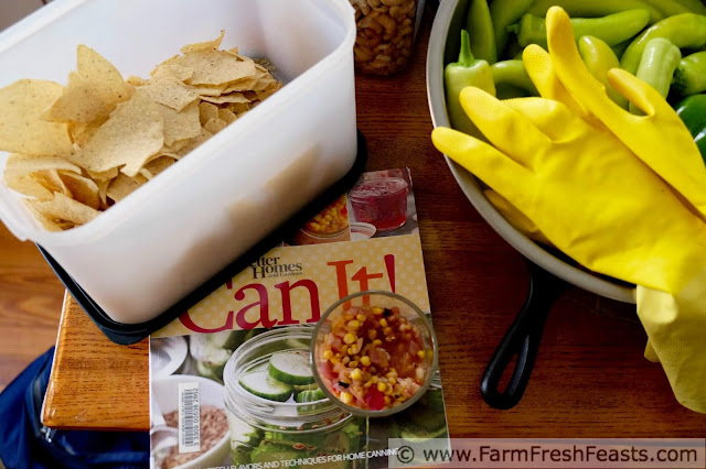 a dish of roasted corn and hatch chile salsa on the Can It! cookbook