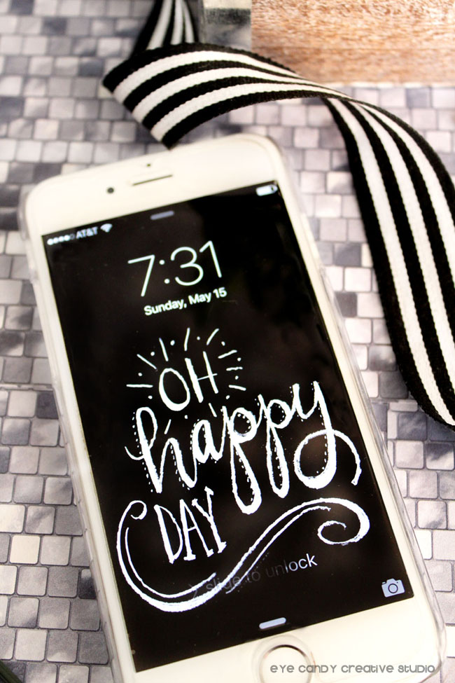 lettering, chalkboard design, oh happy day, inspirational, free download