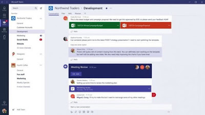 Tampilan menu aplikasi Microsoft Teams