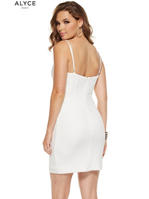 Fitted Jersy Alyce Paris Graduation Short Party Dress Diamond white color Back Side