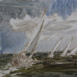 """Racing at Cowes"" 6x6 sketch oil"