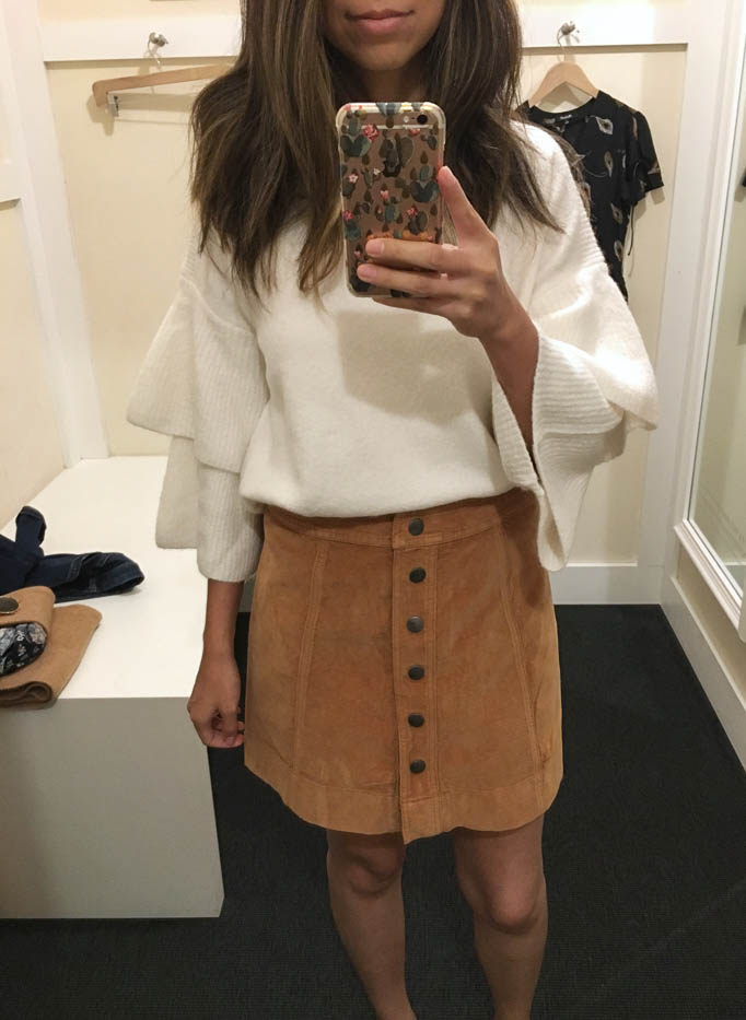 madewell cream sweater and tan skirt