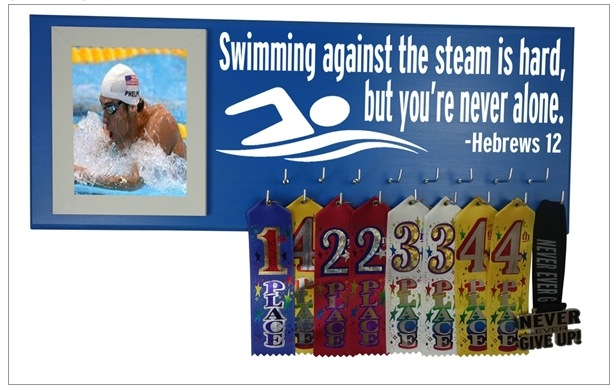 swimming swim medal ribbon hanger holder display rack gift swimmer